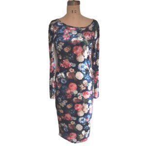 Vintage 90s floral  print velvet bodycon dress